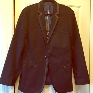 Men's Guess black blazer with satin trim